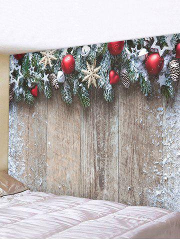 Christmas Tree Balls Wood Board Print Tapestry Wall Hanging Art Decoration - MULTI - W59 X L51 INCH