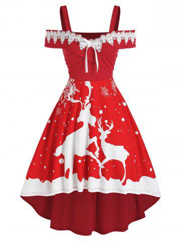 Christmas Elk Print Lace Panel High Low Dress