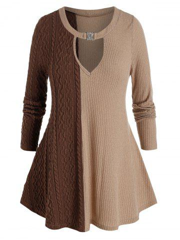 Plus Size Two Tone Keyhole Cable Knit Tunic Sweater - MULTI-A - 1X