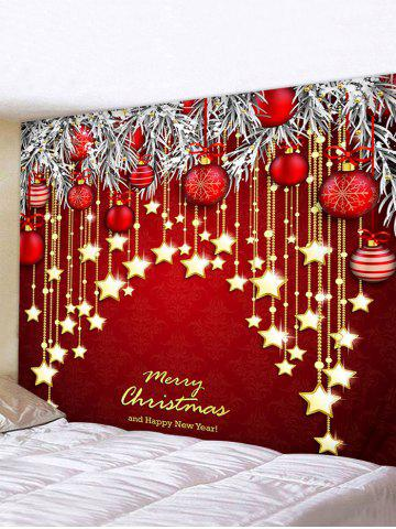 Christmas Ball Letters Print Wall Tapestry - MULTI - W59 X L51 INCH