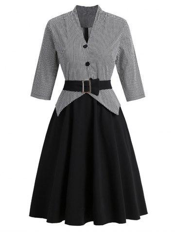 Belted Houndstooth Mock Button Peplum Dress