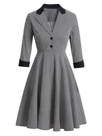 Houndstooth Mock Button Lapel Rolled Sleeve Dress