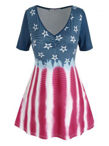 Plus Size Star Gingham Pattern V Neck Tunic Tee