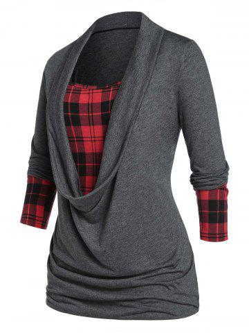 Plus Size Plaid Draped Ruched Long Sleeve Tee - CARBON GRAY - L