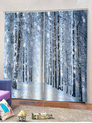2 Panels Snowy Forest Pattern Window Curtains -