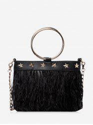 Feather Fringe Star O Ring Chain Crossbody -