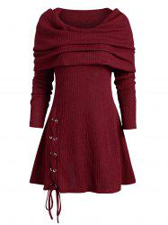 Lace Up Multiway Foldover Long Knitwear -