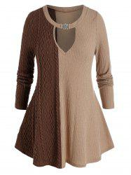 Plus Size Two Tone Keyhole Cable Knit Tunic Sweater -
