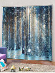 2 Panels Snow Forest Print Window Curtains -