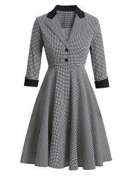 Houndstooth Mock Button Lapel Rolled Sleeve Dress -