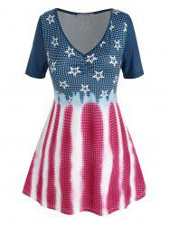 Plus Size Star Gingham Pattern V Neck Tunic Tee -