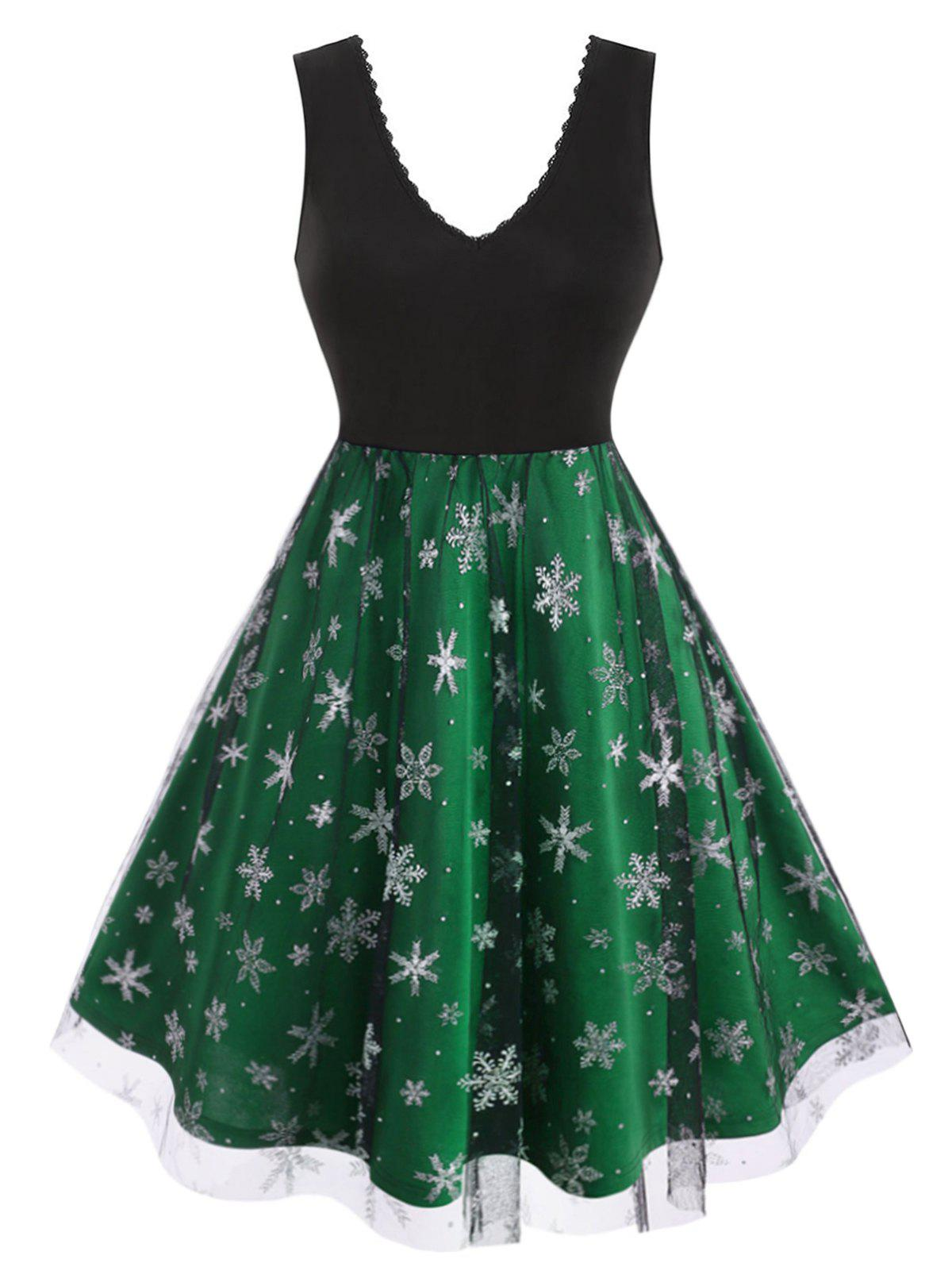 Chic Plus Size Christmas Snowflake Mesh  Fit and Flare Dress