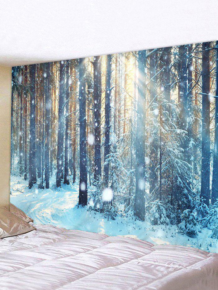 Outfits Snow Forest Sunlight Print Waterproof Wall Tapestry