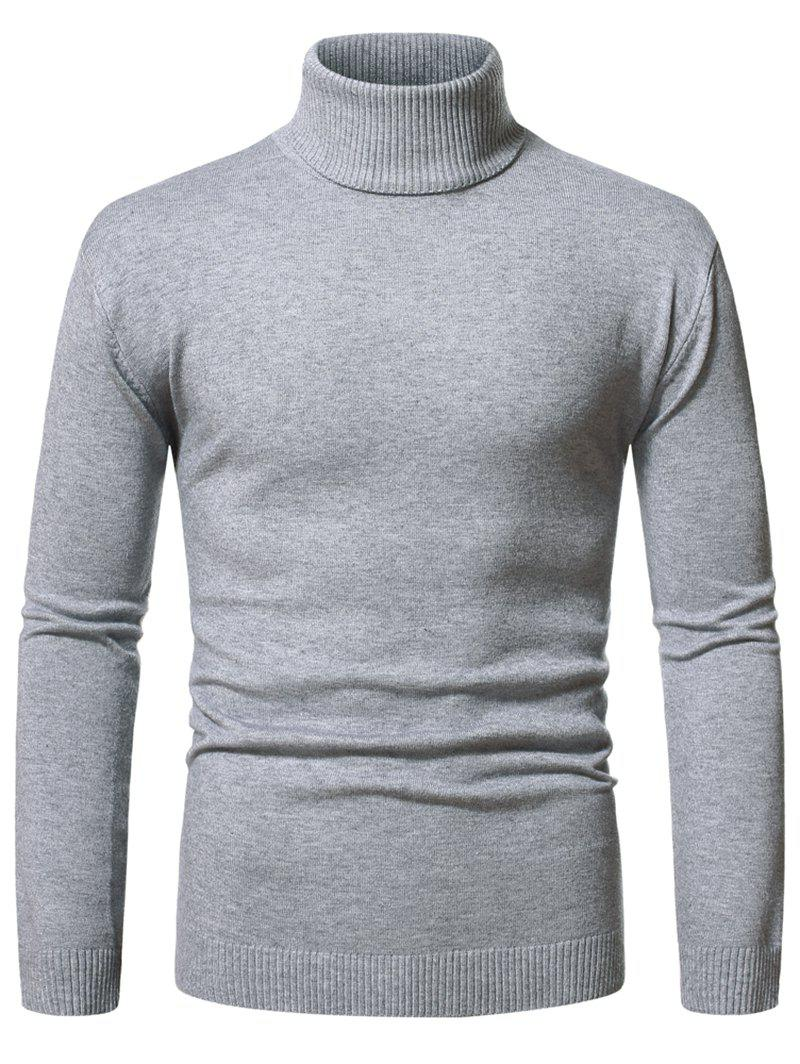 Trendy Turtleneck Pullover Plain Sweater