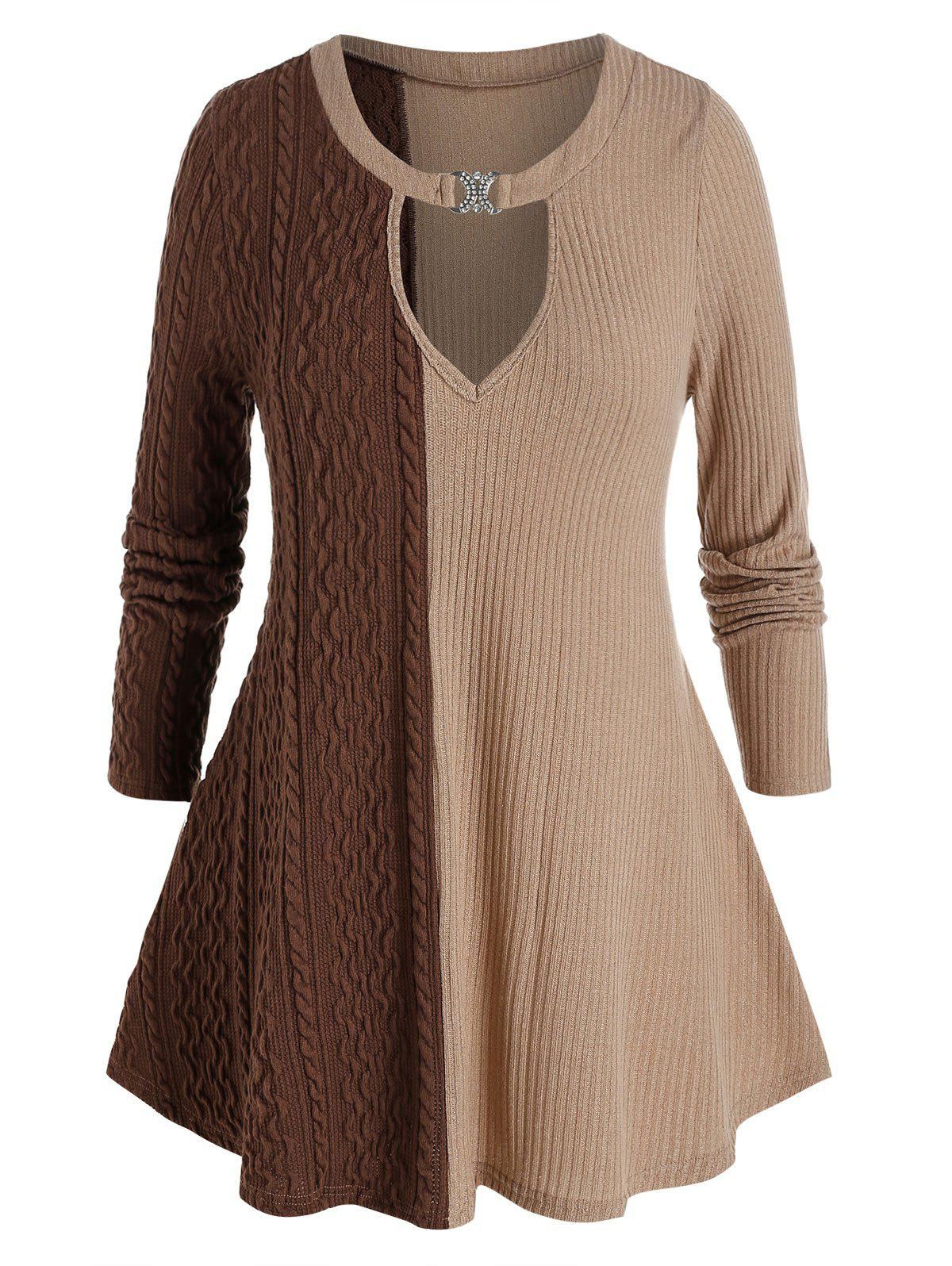 Unique Plus Size Two Tone Keyhole Cable Knit Tunic Sweater