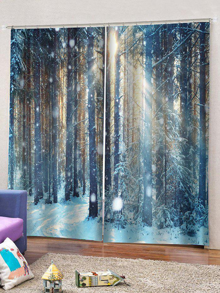 Outfits 2 Panels Snow Forest Print Window Curtains