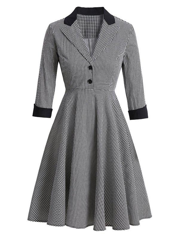 Shops Houndstooth Mock Button Lapel Rolled Sleeve Dress