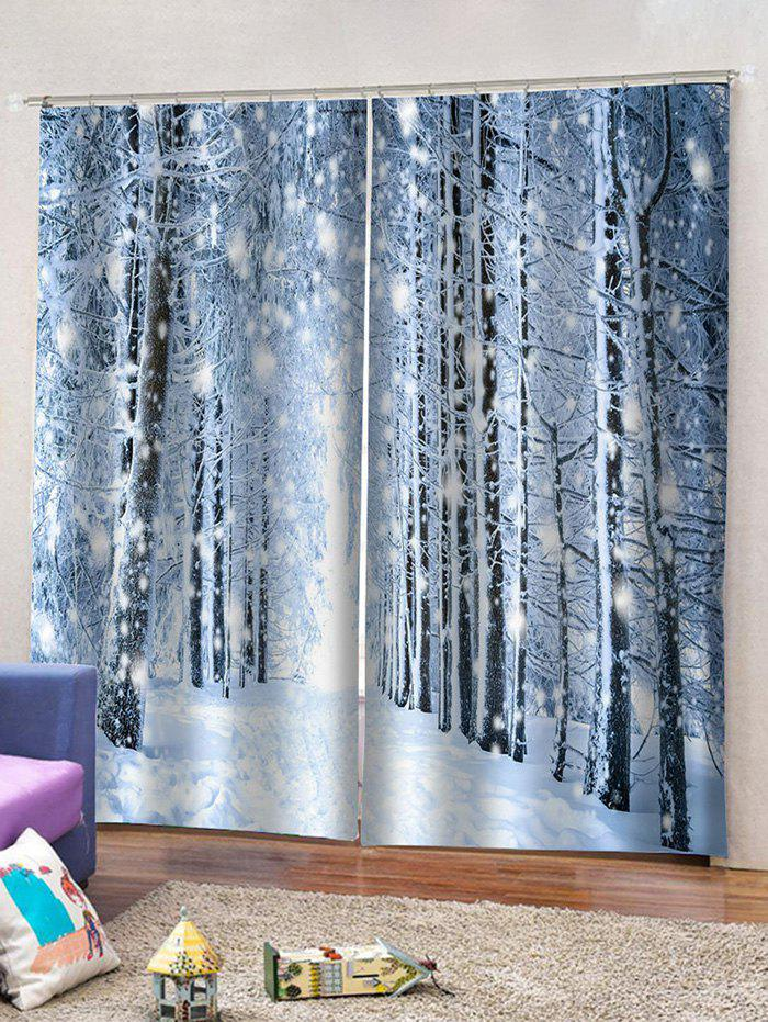 Unique 2 Panels Snowy Forest Pattern Window Curtains