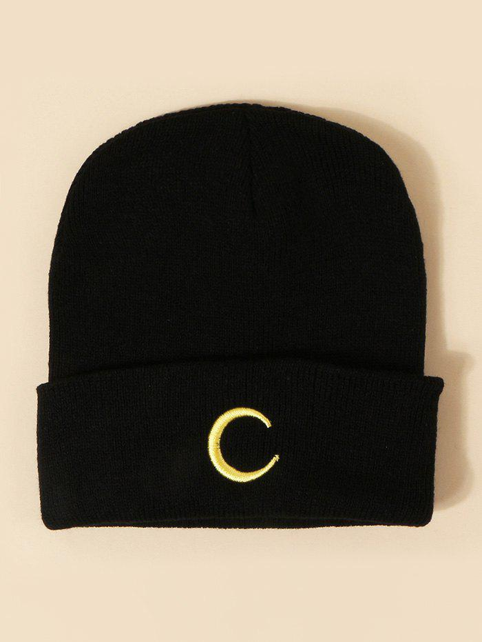 Cheap Embroidered Moon Pattern Knitted Hat