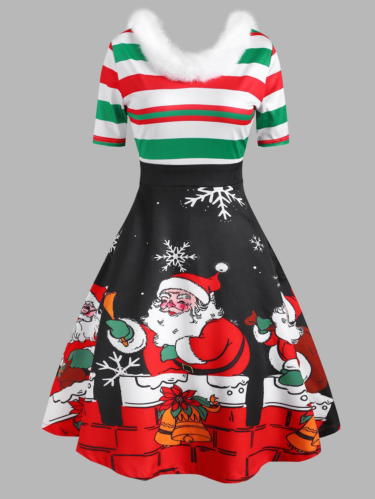 Outfits Christmas Snowflake Santa Claus Striped Faux Fur Insert Dress