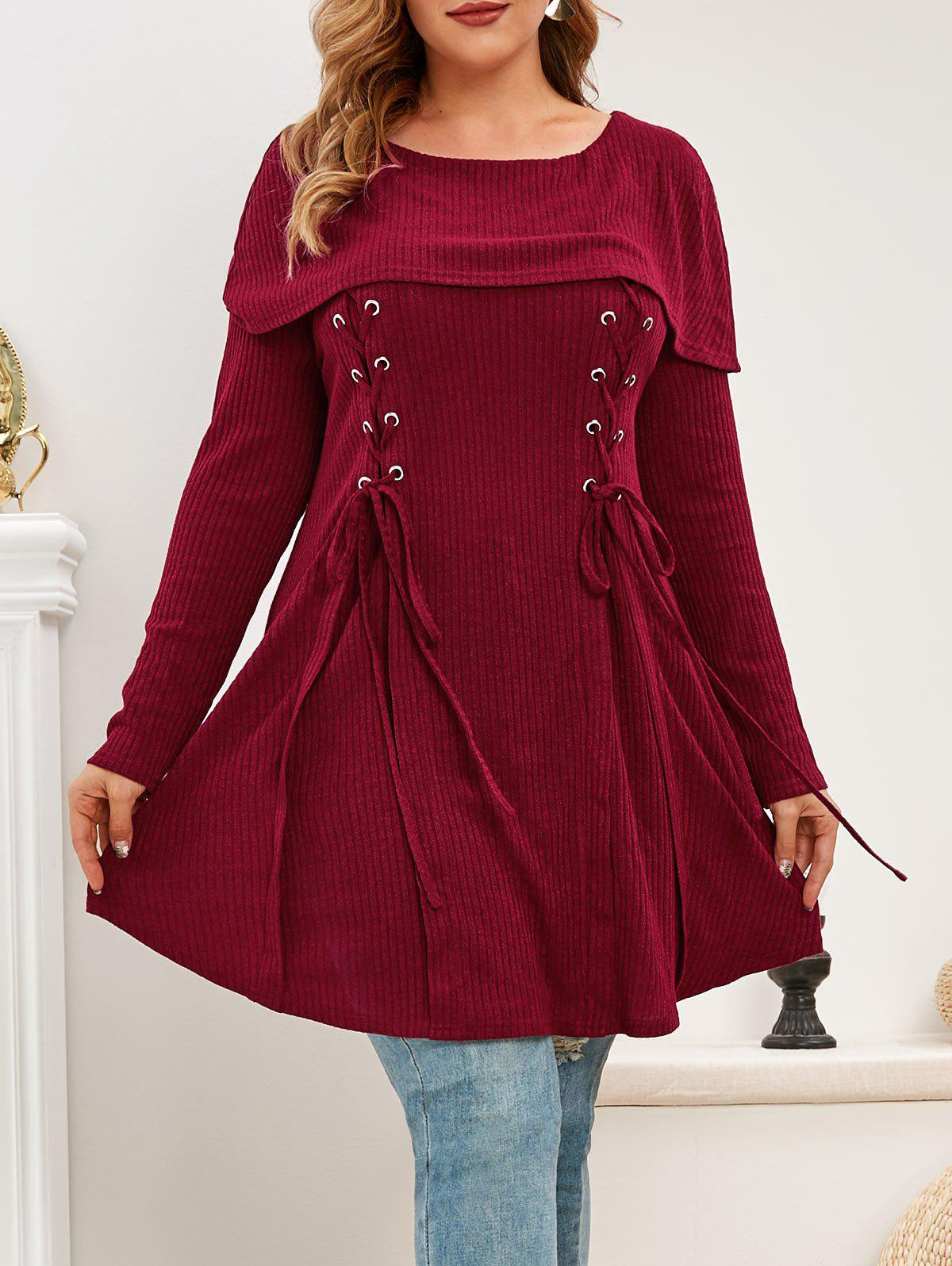 Online Plus Size Foldover Lace Up Knitwear