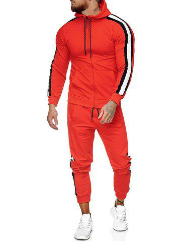 Side Striped Hoodie and Sports Pants Two Piece Set - ROSSO RED - 3XL