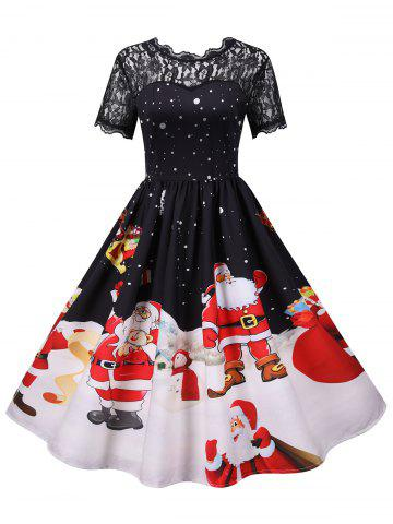Christmas Polka Dot Santa Claus Lace Yoke Dress