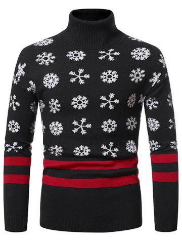 Christmas Snowflake Pattern Turtleneck Sweater - BLACK - XXL