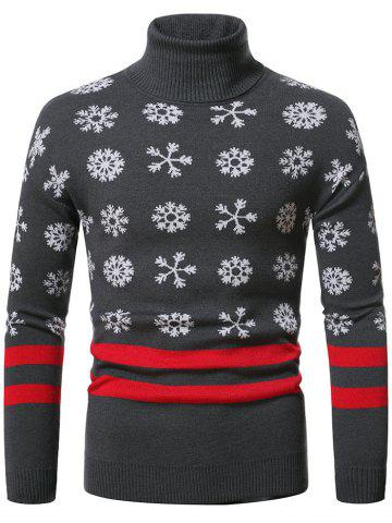 Christmas Snowflake Pattern Turtleneck Sweater