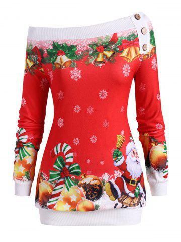 Christmas Santa Claus Snowflake Bells Candy Cane Plus Size Sweatshirt - RED - 5X