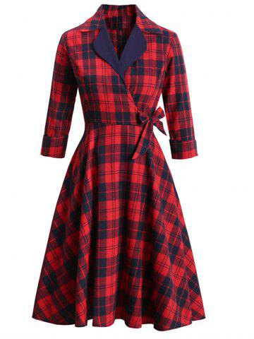 Lapel Plaid Rolled Sleeve Surplice Bowknot Dress