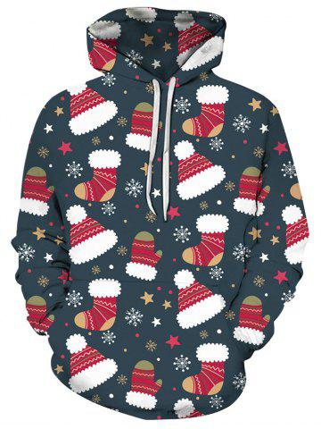 Christmas Stocking Hat Front Pocket Hoodie - MULTI - 3XL