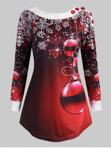 Christmas Snowflake Ball Boat Neck Button Emebllished T Shirt - RED - M