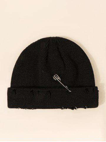 Needle Metal Ring Design Ripped Knit Hat - BLACK