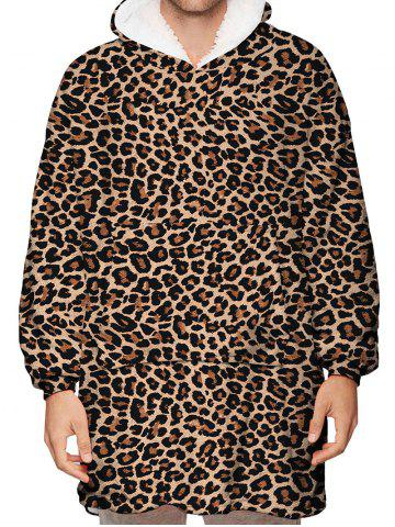 Leopard Print Kangaroo Pocket Fleece Blanket Hoodie
