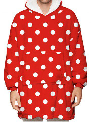 Polka Dot Print Kangaroo Pocket Fleece Blanket Hoodie