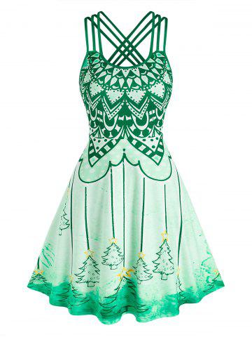 Christmas Tree Print Strappy Flare Dress