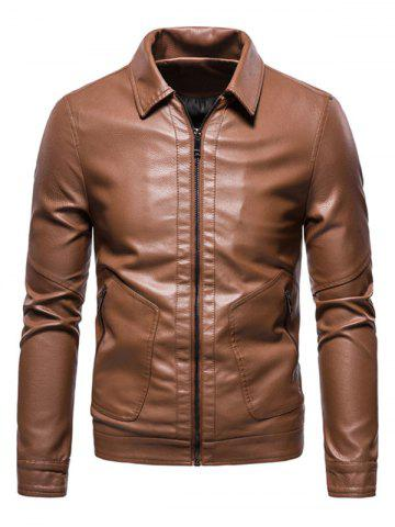 PU Leather Zip Pocket Jacket - BROWN - M