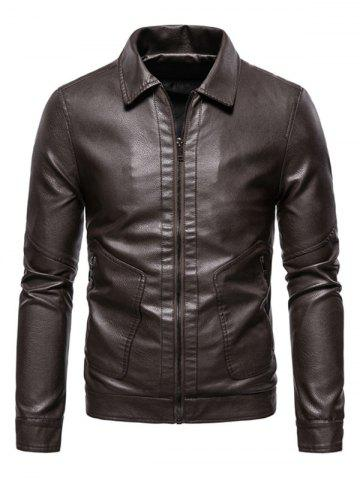 PU Leather Zip Pocket Jacket - COFFEE - L