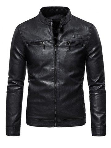 Zipper Detail Faux Leather Fleece Jacket