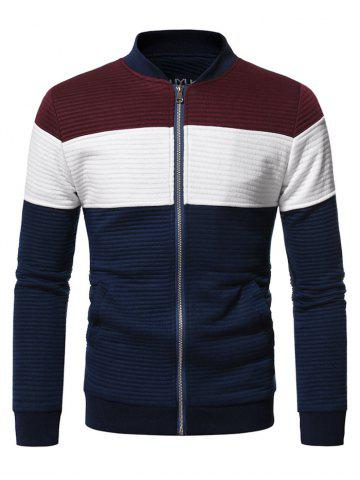 Contrast Zip Up Ribbed Jacket - RED WINE - S