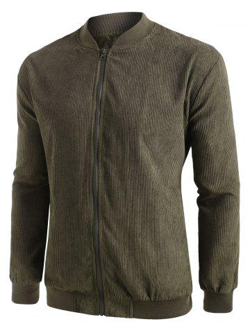 Ribbed Elbow Patch Corduroy Jacket - ARMY GREEN - XL