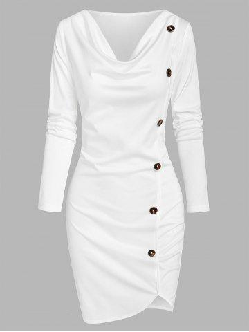 Asymmetrical Mock Button Sheath Dress
