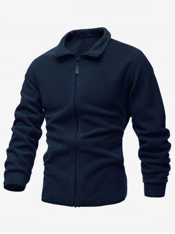 Turndown Collar Zip Up Polar Fleece Jacket
