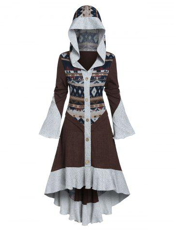 Hooded Tribal Pattern Skirted High Low Cardigan - MULTI-A - M