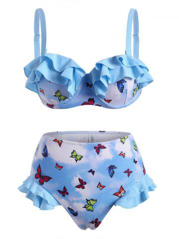 Tiered Ruffle Butterfly Print Tie Dye Underwire High Waisted Bikini Swimwear - LIGHT BLUE - L