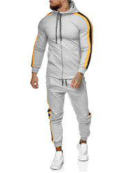 Side Striped Hoodie and Sports Pants Two Piece Set -