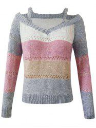Plus Size Colorblock Cutout Sweater -