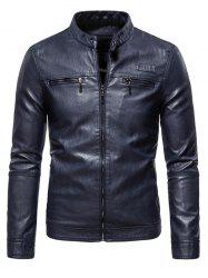 Zipper Detail Faux Leather Fleece Jacket -