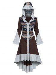 Hooded Tribal Pattern Skirted High Low Cardigan -